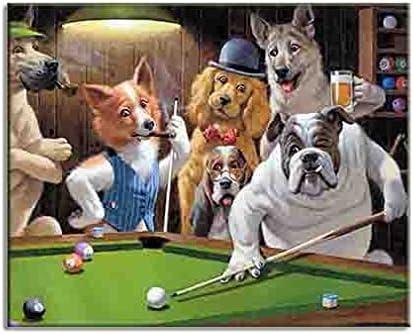 Perros que juegan al billar billar billar HD lienzo de arte ...