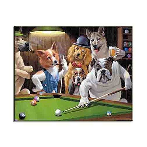 Framed Dogs Playing Pool Art (Dogs Playing Pool Billiard Snooker HD Art Canvas Print Trendy Oil Painting Repro)