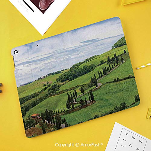 Printed Case for Samsung Galaxy Tab S4 Corner Protection Premium Vegan Leather Stand Cover,Tuscan,Mediterranean Landscape Ancient House Trees Vineyard Agriculture,Green White and Light - Pedestal Mediterranean