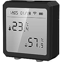 Tuya Smart Hygrometer termometer, Bluetooth trådlös temperatur- och fuktighetssensor med LCD-skärm, kompatibel med Alexa…