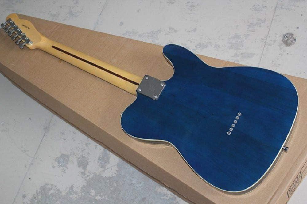 LOIKHGV Venta al por Mayor Guitarra eléctrica de Cuerda Azul Transparente Transparente Izquierda con diapasón de Palisandro, Oferta Personalizada, Guitarra con Estuche rígido, 38 Pulgadas