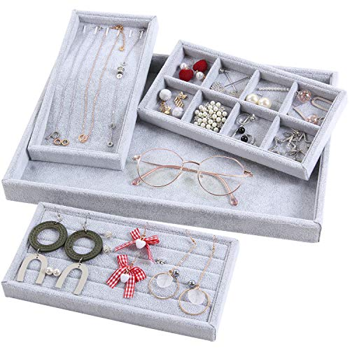 4in 1 Jewelry - Valdler 4 in 1 Stackable Velvet Jewelry Trays Drawer Oganizer Watch Rings Showcase Display Storage