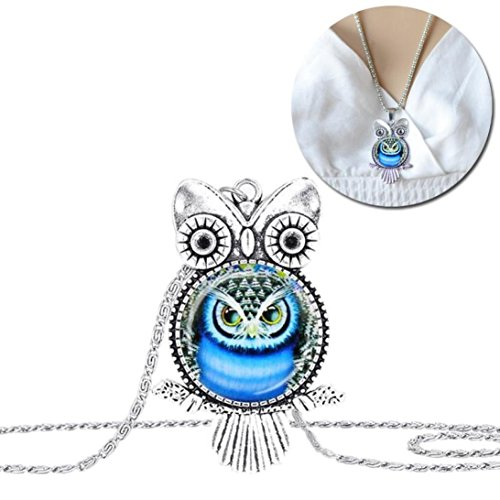 TOPUNDER Owl Pendant Necklace Jewelry Vintage Newest Glass Cabochon Necklace by