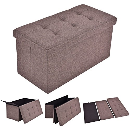 LTL Shop Folding Rect Brown Ottoman Bench Storage Stool Box - House Uk Fraser Co
