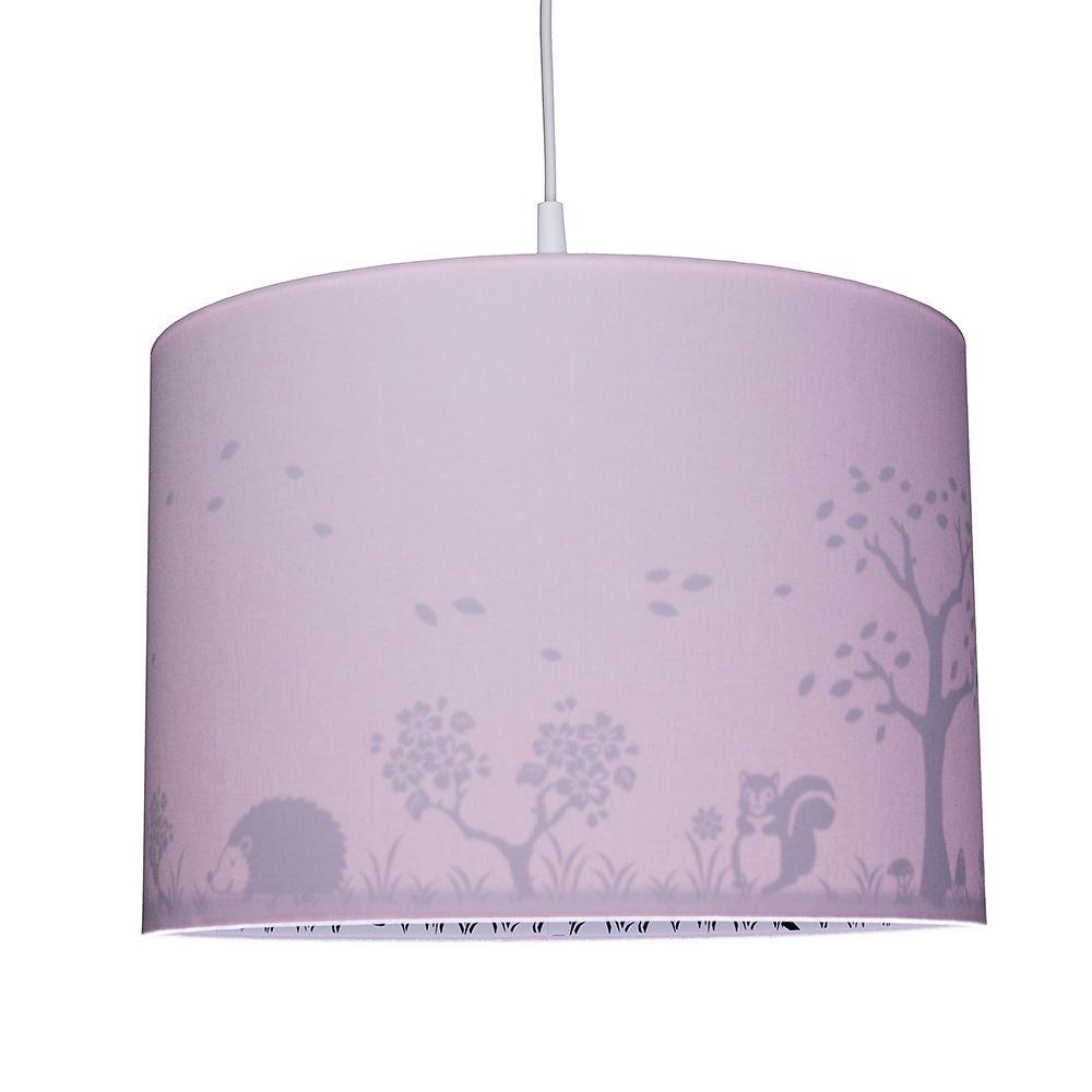 rosa E14 WALDI Kinderzimmer Pendelleuchte mit Rehaufdruck
