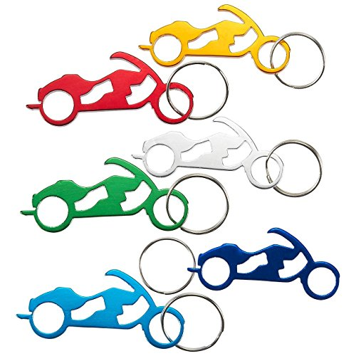 Juvale Keychain Bottle Opener - 12-Pack Motorcycle Bike Portable Beer Bottle Metal Openers for Wedding Party Favor in 6 Colors
