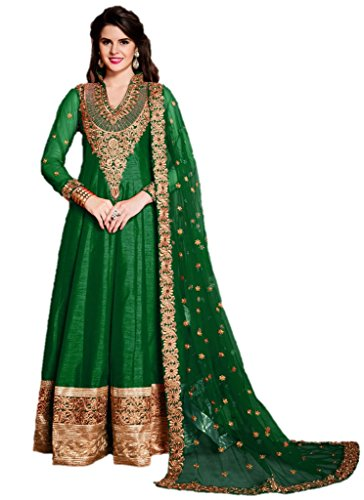 EthnicWear-Indian-Cultural-Wedding-Party-Wear-Green-Silk-Designer-Anarkali-Suit