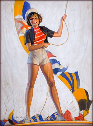 A SLICE IN TIME 1940s Pin-Up Girl Ship Ahoy Sailor Sailing Going on a Cruise Picture Poster Print Art Vintage Pin Up. Poster measures 10 x 13.5 inches ()