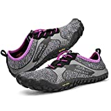 hiitave Womens Trail Running Barefoot Shoes Lightweight Gym Athletic Walking Shoes for Outdoor Sports Cross Trainer Black/Purple US 8/8.5 Women
