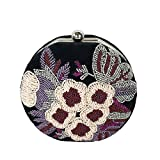 From St Xavier Cole Floral Beaded Velvet Round Box Clutch, Multi