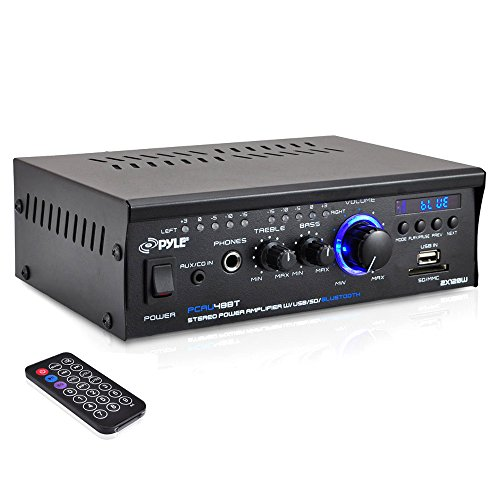 Bluetooth Mini Stereo Power Amplifier - 2x120W Dual Channel Sound Audio Receiver Entertainment w/Remote, for Amplified Speakers, CD DVD, MP3, Theater via 3.5mm RCA Input, Studio Use - Pyle PCAU48BT Audio Stereo Amplifier Amp