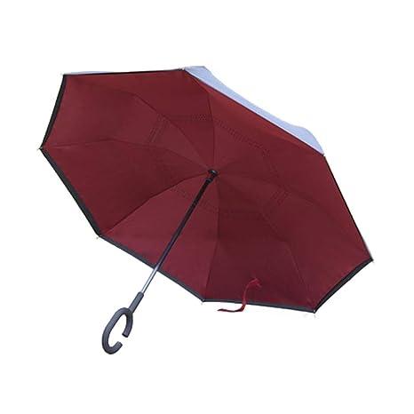 AAAumbrella Paraguas Invertido De Doble Capa, Forma De C ...