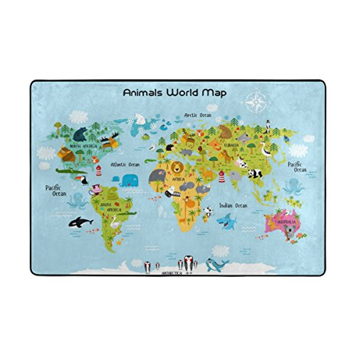 World Map Baby Rug: Cartoon Animals World Map Area Rug For Kids Educational