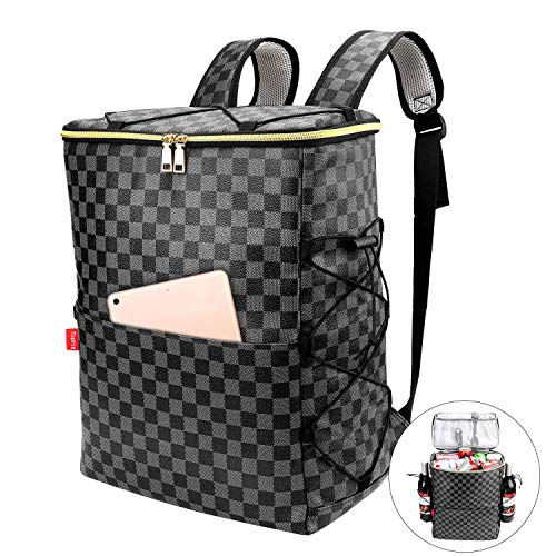Tophie Insulated Backpack Cooler, 30L Leakproof Lightweight Lunch Backpack and Bag, 30 Cans PU Leather Waterproof Hiking Backpack for Hiking, Beach, Park Picnic (Black) (Cooler Backpack Black)
