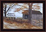 Old County Road by Billy Jacobs 15x21 Country House Landscape Barn Farm Primitive Folk Art Print Wall Décor Framed Picture