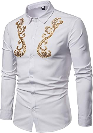 Zjcpow Camisa Slim Hombre Hipster GoldLapel Collar para Hombre, Manga Larga, Bordado, Corte Ajustado, Camisa con Botones Camisa Casual (Color : Black, Size : M): Amazon.es: Hogar