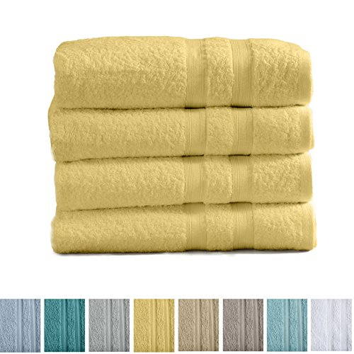 Great Bay Home 4-Pack Premium 100% Cotton Bath Towel Set (28 x 52 inch) Multipack For Home Spa Pool Gym Use. Quick-Drying and Extra Absorbent. Emelia Collection. (Yellow)