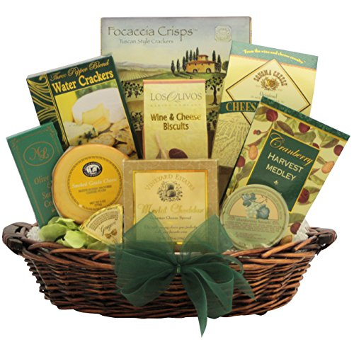 GreatArrivals Christmas Holiday Gift Basket: Holiday Greetings Gourmet Cheese - Green & Gold Wine Smoked Gouda