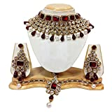 Shining Diva Party Wear Crystal Choker Traditional Jewellery Necklace Set with Maang Tikka Earrings for Women