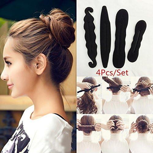 [해외]단 헤어 어레인지 헤어 어레인지 헤어 메이커 헤어 액세서리 용품 스폰지 시 니 용 아가씨 바람 헤어스타일 사용 간단 블랙 4 개 세트 / Dumpling Hair Arrangement Hair Arrangement Hair Accessories Goods Sponge Sinyon Young Lady Style Hairst...