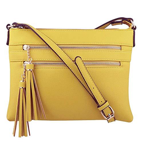 BOLUBILUY Women's Small Crossbody Bag,Zipper Solid Color Tassel Shoulder Bags Messenger Bag Cellphone Purse Wallet Card