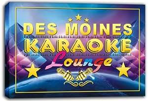 scpk1-2156 DES MOINES Karaoke Lounge Bar Beer Stretched Canvas Print Sign