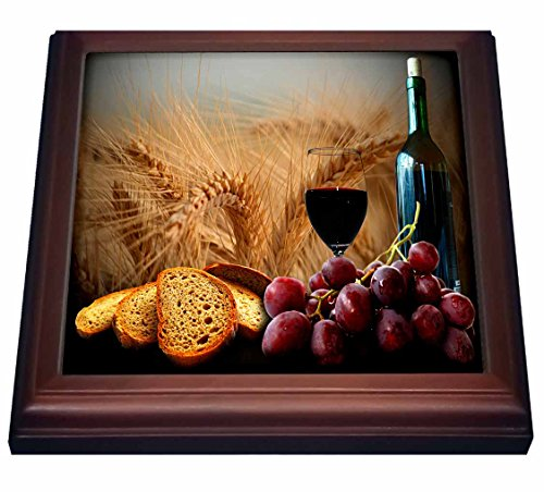 3dRose trv_14294_1 Wine Bread Grapes Trivet with Ceramic Tile, 8 by 8