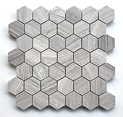 "Athens White Silver 2"" Hexagon Marble Mosaic Tile Backsplash Wall Floor"