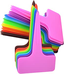 HOVEOX 200 PCS 10 Color Plastic Plant Tags, T-Type Markers Nursery Garden Labels Stakes for Gardening Green House Humidity Dome Orchard Botanical Garden Assorted Color