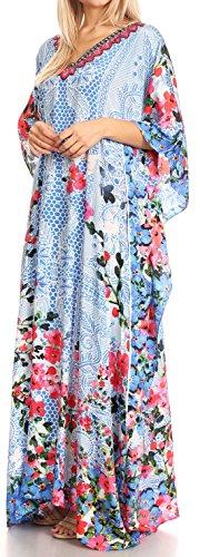 Sakkas in Anahi lungo Flowy Design collo su Blu strass 17189 copertura rosso vestito con caftan V rrqfzTdw