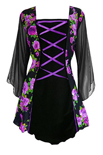 Dare to Wear Victorian Gothic Boho Women's Plus Size Mandarin Corset Top Purple Rose 3x