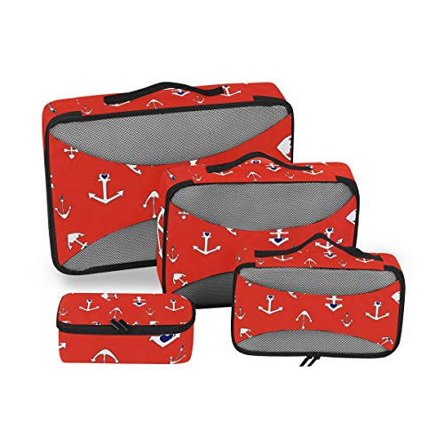 Arrow Anchor Red Texture Travel 4 Piece Packing Cubes Set Luggage Accessories Suitcase Organizers