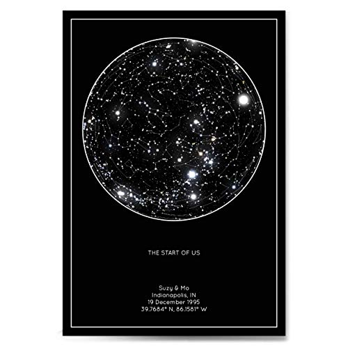 Personalized Star Constellation Map, Minimal Star Chart, Choose Your Occasion, Custom Engagement Anniversary Present, Cool Gift Idea, Night Sky -