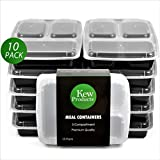 Kew Products- Meal Prep Containers, 3 Compartment, FDA Approved, BPA Free, Reusable, Microwave & Dishwasher Safe Food Storage Containers with lids, Best for Prepared Food and Portion Control, 10 Pack