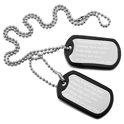 Double Dog Tag Necklace - MeMeDIY Silver Tone Black Stainless Steel Pendant Necklace Rubber Double Dog Tag 23 Inch Chain,come with Chain - Customized Engraving