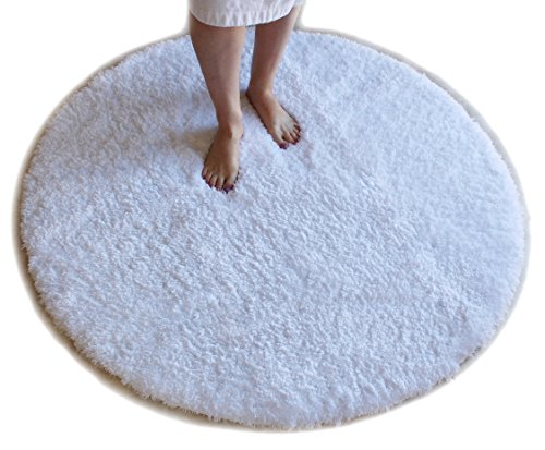 White Bath Mat Round Rug Shag Non Slip Ultra Plush Microfiber Highly Water Absorbent Durable and Washable for Bathroom 4 Feet (Round Bath Rugs)