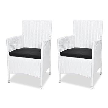 vidaXL 2x Sessel Stuhl Poly Rattan Stühle Garten Möbel Rattanstuhl ...