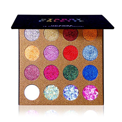 Pretty Sparkly Halloween Makeup (UCANBE Pro Glitter Eyeshadow Palette - Professional 16 Colors - Chunky & Fine Pressed Glitter Eye Shadow Powder Makeup Pallet Highly Pigmented Ultra Shimmer for Face)