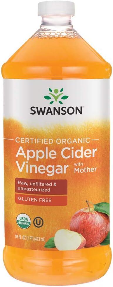Swanson Certified Organic Apple Cider Vinegar with Mother 16 fl Ounce (1 pt) (473 ml) Liquid