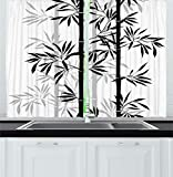 "Ambesonne Tree of Life Kitchen Curtains, Silhouette of Bamboo Tree Leaves Japanese Feng Shui Boho Image, Window Drapes 2 Panel Set for Kitchen Cafe Decor, 55"" X 39"", Black White"