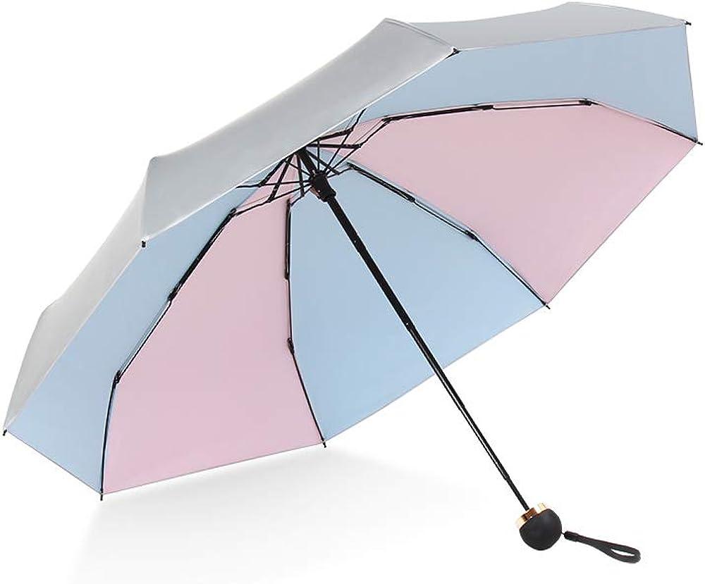 "ATOFUL 8Ribs UPF50+ Parasol Mini Umbrella Windproof UV Protection Wind Resistant Lightweight Folding Sun-Rain Anti UV Umbrella 7.8"" Titanium Compact Vent Sun Umbrella"