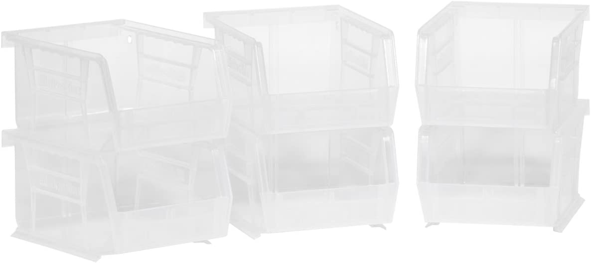Akro Mils 08212sclar 30210 Akrobins Plastic Storage Bin Hanging Stacking Containers 5 3 8 L X 4 1 4 W X 3 H Clear 6 Pack Amazon Com