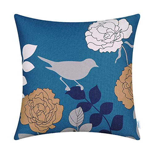 CaliTime Canvas Throw Pillow Cover Case for Couch Sofa Home Decoration Floral Cartoon Shadow Bird Silhouette 18 X 18 Inches Deep Sea Blue Ground Grey Bird