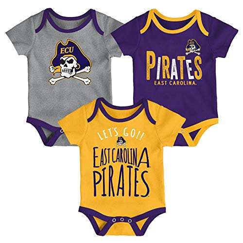 Outerstuff ECU East Carolina University Infant Creeper Set Lil Tailgater 3 Pack (12 M)