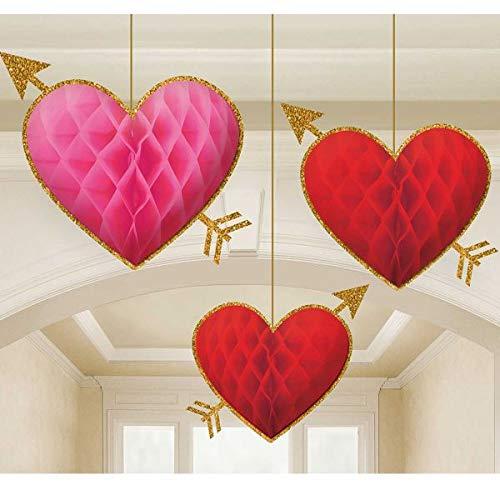 Heart Shaped Decorations - Honecomb Heart Decoration 3pk