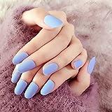 echiq 24pcs Mate cielo azul Kit de uñas postizas Lady uso diario falso uñas Consejos Round