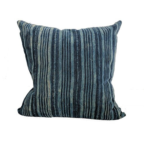 African Indigo Farmhouse Stripe Pillow | BAM 18x18