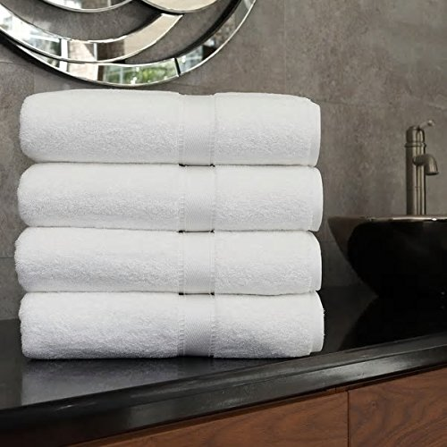Beautiful Grand Spa White Color Bath Towel (Set of 4) Rich Luxurious Hotel Soft Durable Authentic Turkish Warm Relax Cotton Oversized Pamper Design Plush Shower Towels Bath Wrap Addition Bathroom