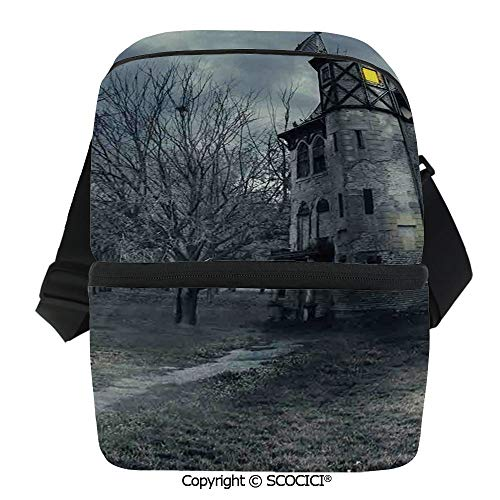 SCOCICI Cooler Bag Halloween Design with Gothic Haunted House Dark Sky and Leafless Trees Spooky Theme Decorati Insulated Lunch Bag for Men Women for Kayak,Beach,Travel,Work,Picnic,Grocery