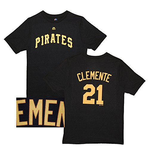 Majestic Roberto Clemente Youth Pittsburgh Pirates Black Name and Number Jersey T-Shirt Medium 10-12